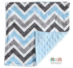 Blue Grey Chevron Double Minky Lovey